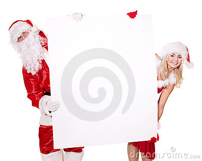 Santa claus and  girl holding banner.