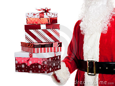 Santa Claus giving Christmas presents