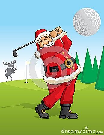 Santa Claus golfing