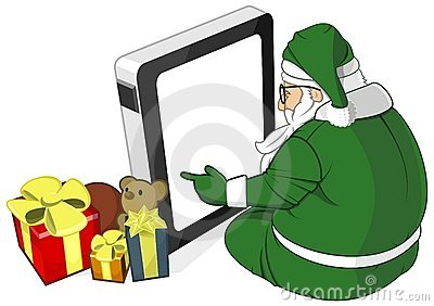 Santa Claus in Green Costume Uses Tablet PC Vector