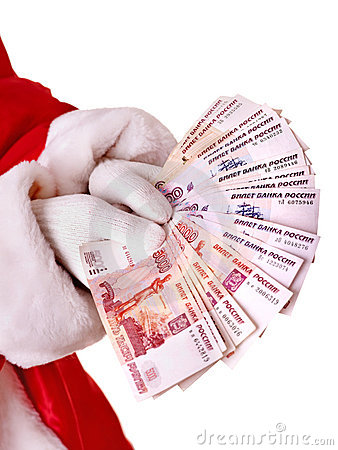Santa Claus hand with  money.