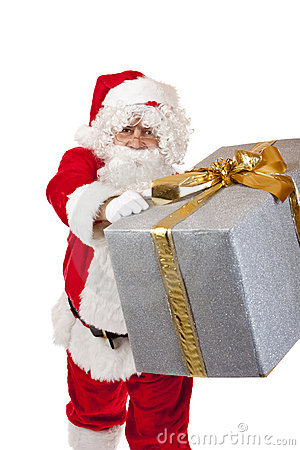 Santa Claus handing over a Christmas gift box