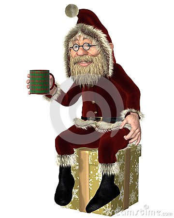 Santa Claus Having uma ruptura de chá