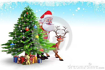 Santa claus hiding behind tree with deer