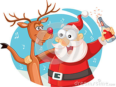 Santa Claus and his Reindeer Drinking and Celebrating Christmas Vector Illustration