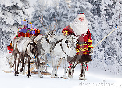 Santa Claus And His Reindeer Stock Photo Image 63012529