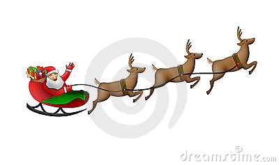 Santa Claus in his sleigh