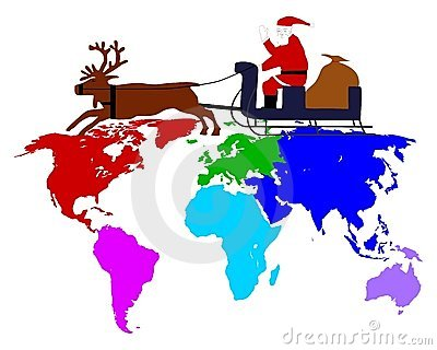 Santa Claus on his sleigh above the six continents