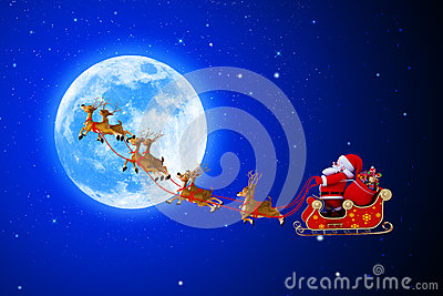 Santa Claus With His Sleigh Very Near To The Moon Royalty Free Stock Image - Image: 26667206