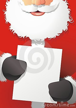 Santa Claus hold the poster