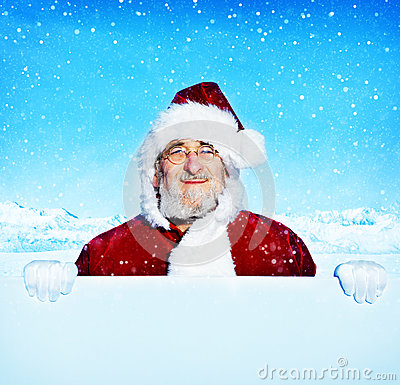 Free Santa Claus Holding A Blank Sign Snowing Concept Stock Image - 70118141