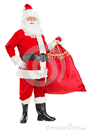 Santa Claus holding a bag full of gifts