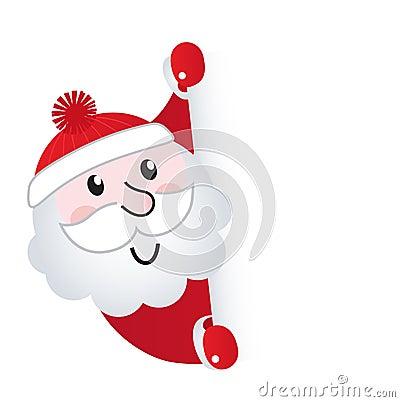 Santa Claus holding blank banner sign