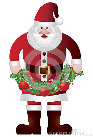 Santa Claus Holding Garland Illustratio