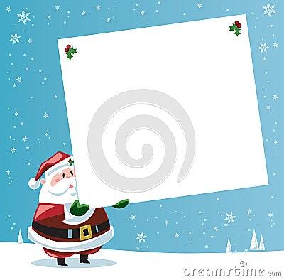 Santa Claus holding large gift tag