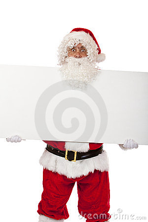 Santa Claus holds Christmas advertisment display
