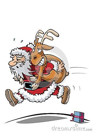 Santa claus in hurry