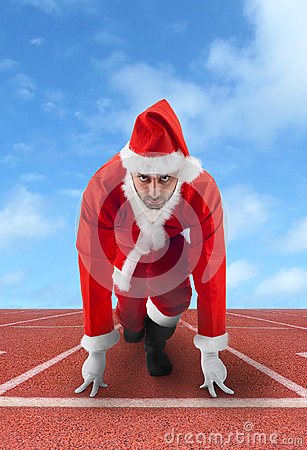 Free Santa Claus In The Starting Position On A Running Track Royalty Free Stock Images - 35181779