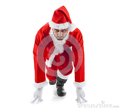 Free Santa Claus In The Starting Position On White Background Royalty Free Stock Photo - 35181775
