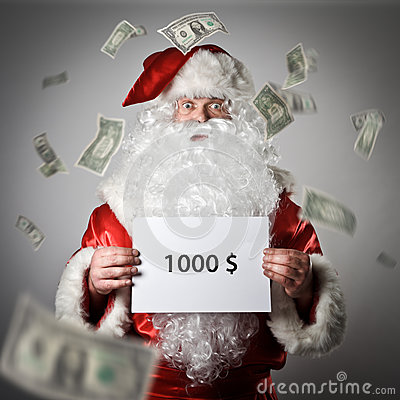 Free Santa Claus Is Holding A White Paper In His Hands. One Thousand Royalty Free Stock Image - 80226806