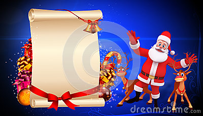 Santa claus jumping with reindeer and sign