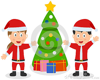 Santa Claus Kids, Tree & Gifts
