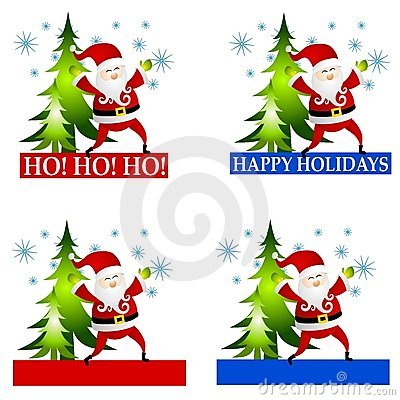Santa Claus Labels or Logos Clip Art