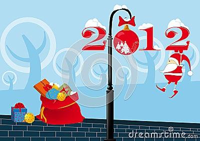 Santa Claus on a lamppost