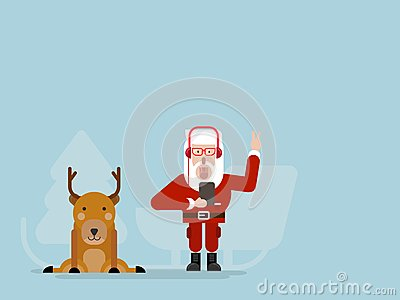 Santa claus listening music with deer Vector Illustration