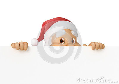 Santa Claus looks out of paper