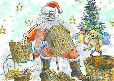 Santa Claus making baskets