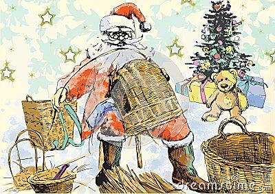 Santa Claus making baskets