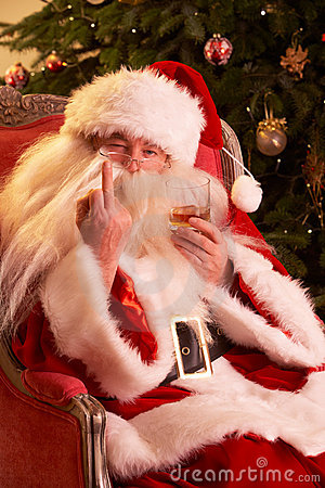 Santa Claus Making Rude Gesture To Camera