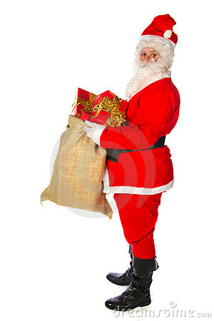 Santa Claus with many presents