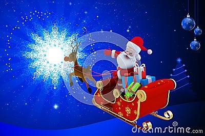 Santa Claus med hans sleigh