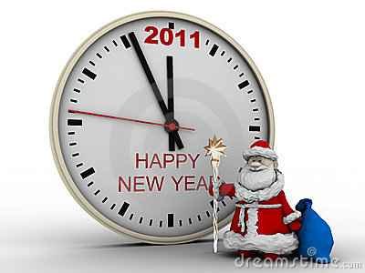 Santa Claus with New Year s clock