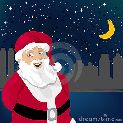 Santa claus with night city