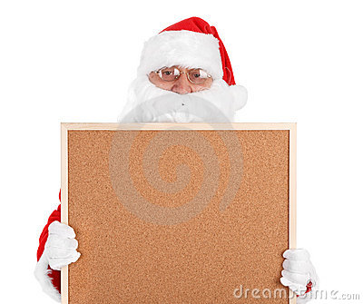 Santa claus and part of empty bulletin board