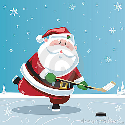 Santa Claus playing hockey