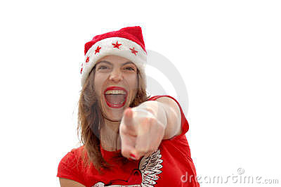 Santa Claus pointing with finger
