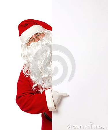 Free Santa Claus Pointing On A Blank Banner Stock Images - 32827664