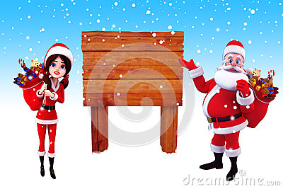 Santa claus pointing towards a wooden sign