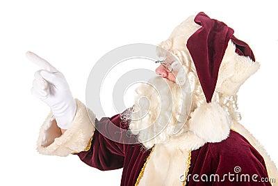 Santa Claus pointing upwards