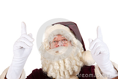 Santa Claus pointing upwards
