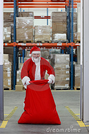 Santa Claus preparing for Christmas