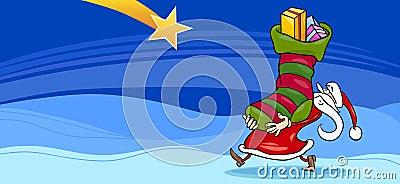 Santa Claus with presents cartoon card
