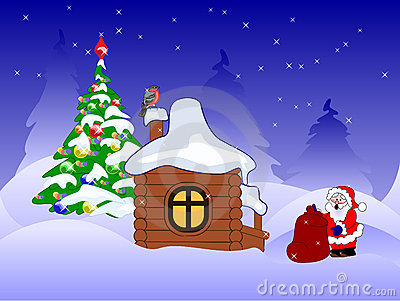 Santa claus with presents near wooden house
