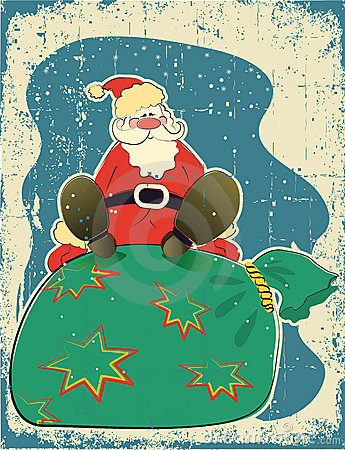 Santa Claus and presents.Retro card for celebrate