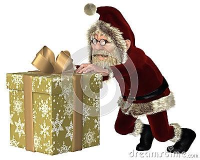 Santa Claus Pushing ein Weihnachtsgeschenk