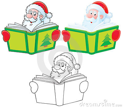 Santa Claus reads a book